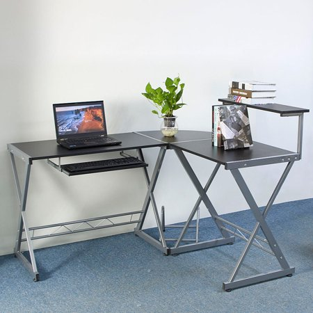 Ktaxon L-Shaped Computer Desk Workstation Corner Desk Home Office Laptop PC Table With Top Shelf