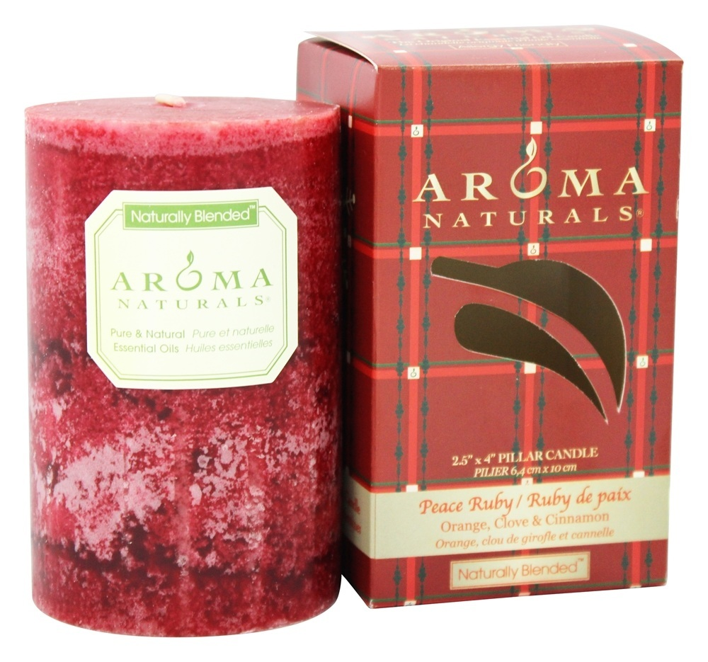 Aroma Naturals - Peace Ruby Holiday Naturally Blended Pillar Eco-Candle Orange, Clove and Cinnamon