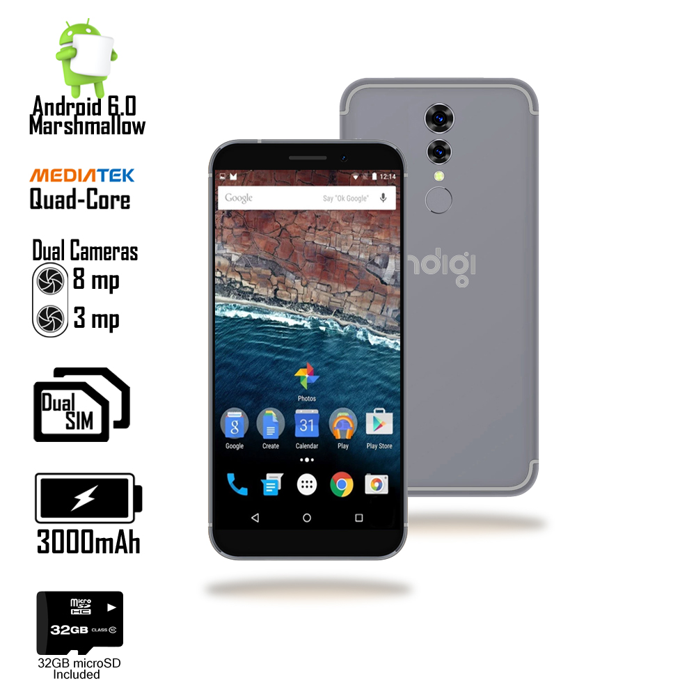 "Indigi Unlocked 5.0"" Quad Core Android 6.0 DualSim 4G SmartPhone + 32gb included"