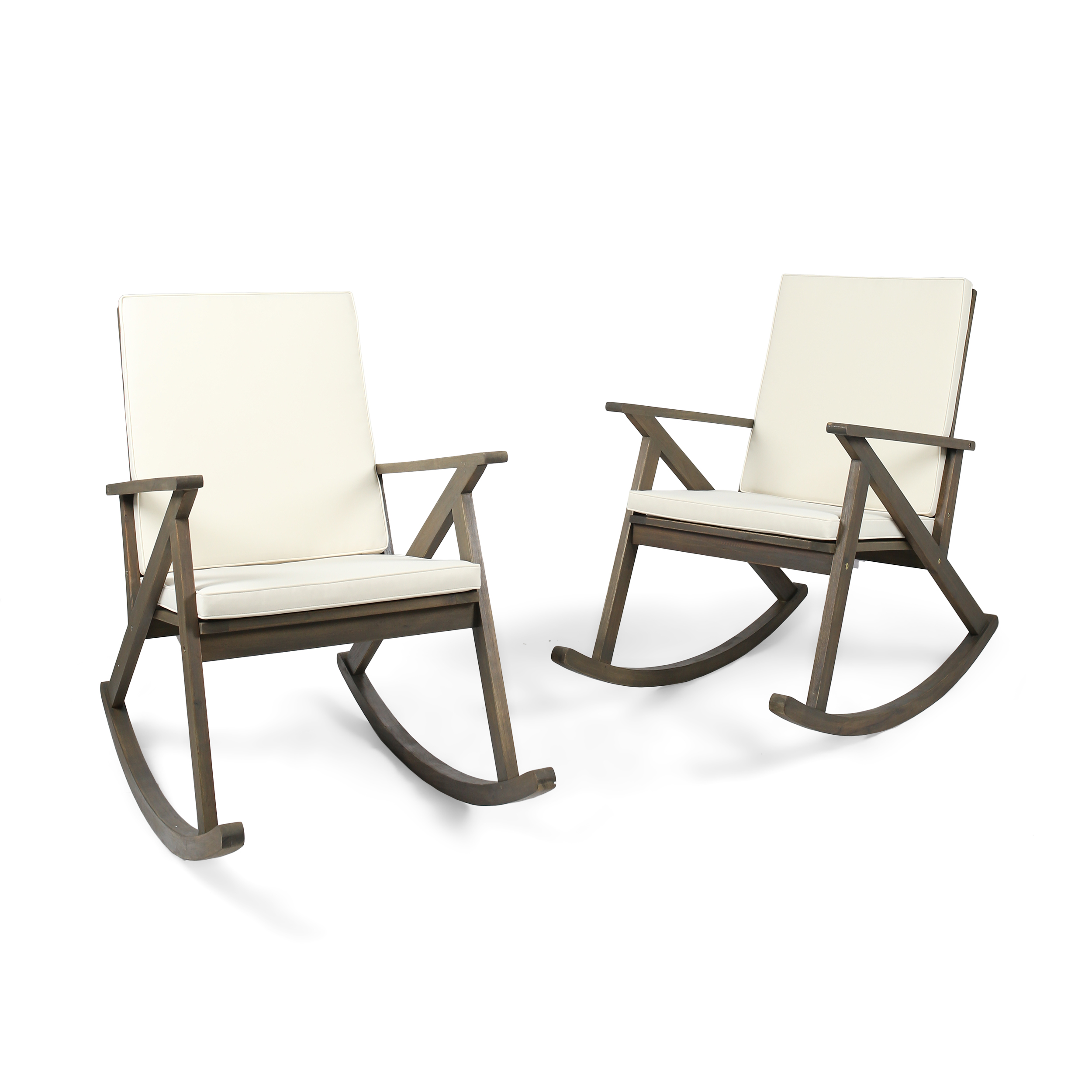 Louise Outdoor Acacia Wood Rocking Chair With Cushion Set Of 2 Grey And Cream