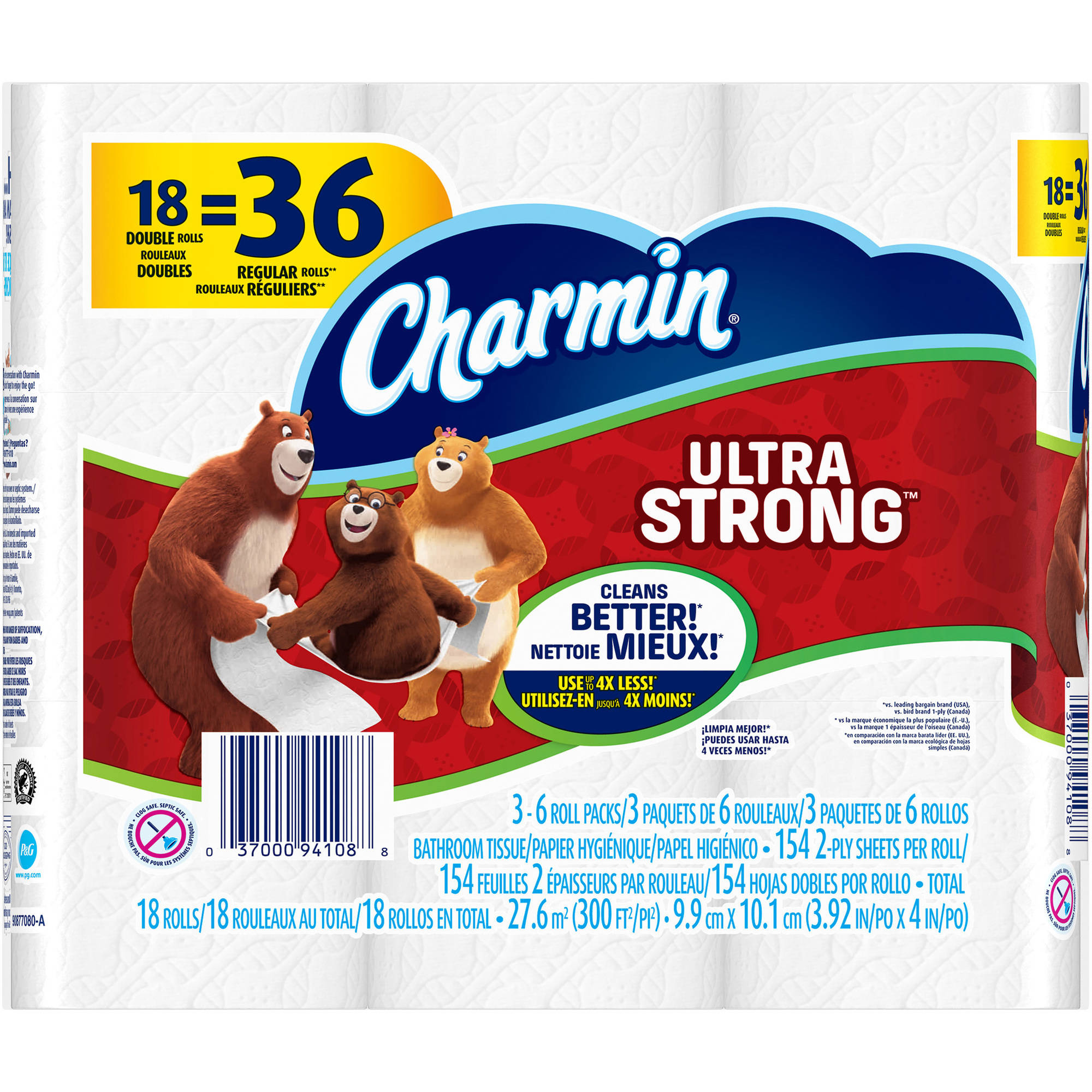 Charmin Ultra Strong Toilet Paper Double Rolls, 154 sheets, 18 rolls