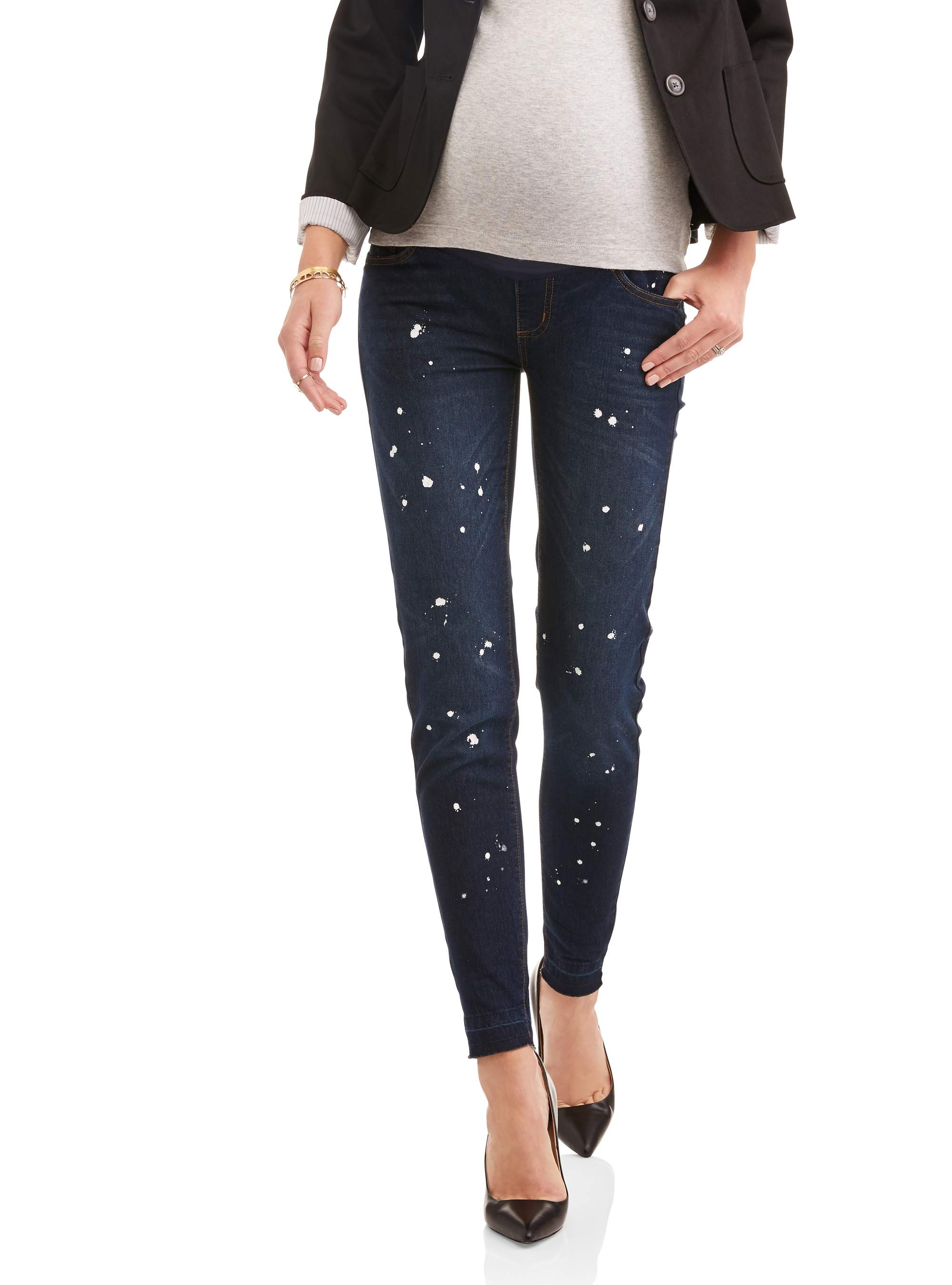 Maternity Full Panel Fashion Skinny Jeans with Frayed Hems