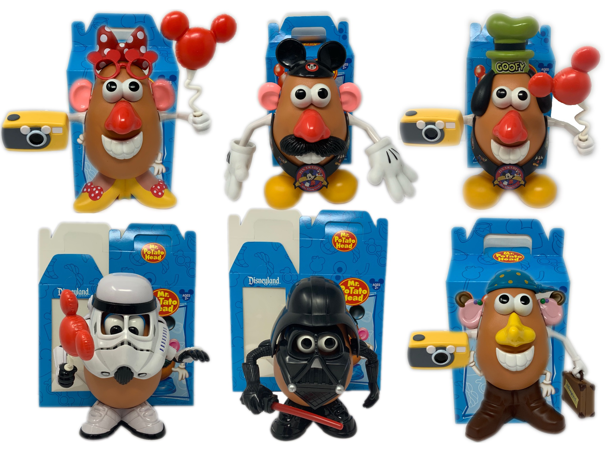 Disney Exclusive Mr Potato Head 6 Complete Figures Star Wars Mickey Minnie Goofy by