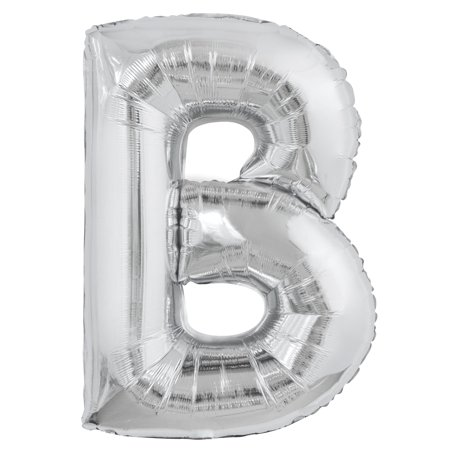 Foil Big Letter Balloon, B, 34 in, Silver, 1ct