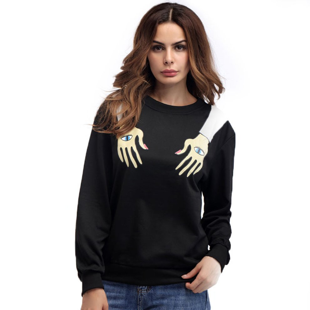 Women Special Printed Tops Casual Long Sleeve Round Neck Winter Sweater