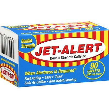 (2 Pack) Jet-Alert Double Strength Caffeine 200 mg Caplets, 90 -