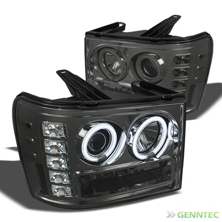 (Smoked CCFL Halo LED 2007-2014 GMC Sierra Projector Headlights Smoke Head Lights Pair L+R 2008 2009 2010 2011 2012 2013)