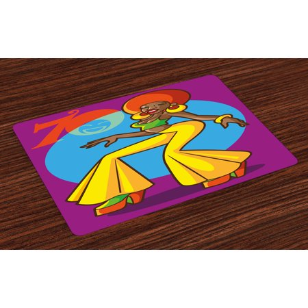 70s Party Placemats Set of 4 African American Woman Dancing at the Disco Funky Fashion with Smiling Face Art, Washable Fabric Place Mats for Dining Room Kitchen Table Decor,Multicolor, by Ambesonne