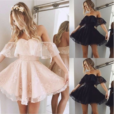 Womens Lace Short Dress Off Shoulder Prom Ladies Evening Party Cocktail Bridesmaid Wedding Dresses - image 2 of 5