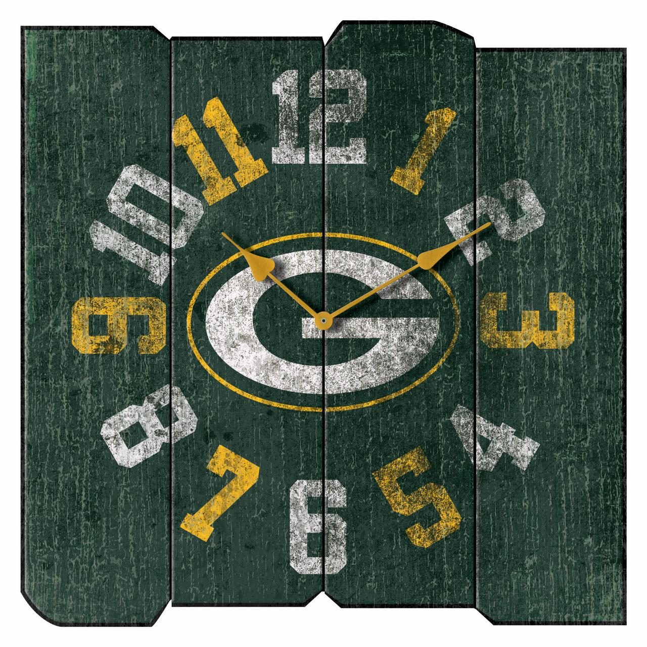 "Green Bay Packers 16"" Vintage Sqaure Wall Clock - Green - No Size"
