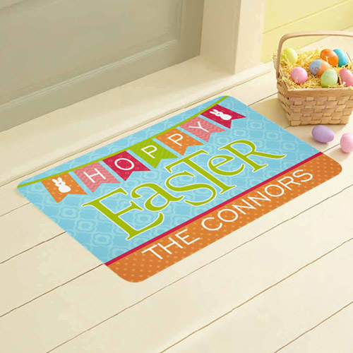 "Personalized Hoppy Easter Welcome Mat, 17"" x 27"""