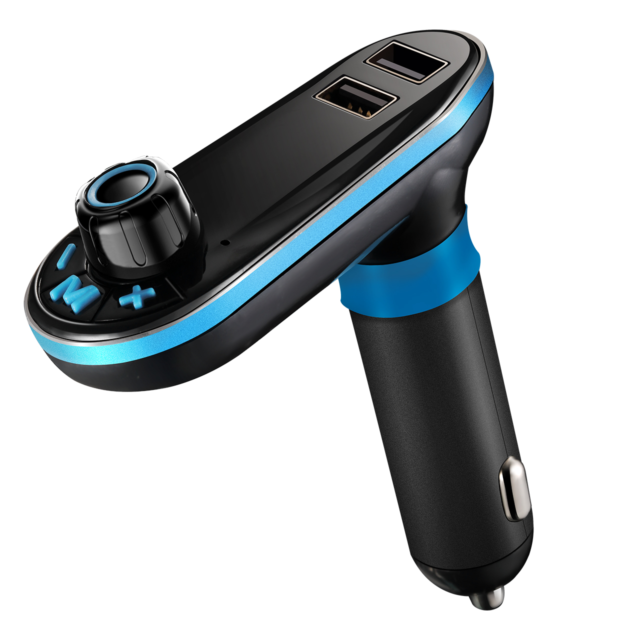 VicTsing Bluetooth FM Transmitter, Hands-free Car Kit Charger, Support TF Card/U-disk for iPod iPhone 6 6S iPad Air/Mini Samsung Galaxy HTC Sony Motorola Smartphones, Supports Siri Function (Blue)