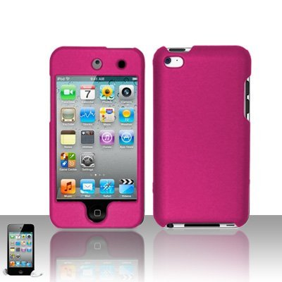 Premium Rubberized Snap-on Hard Crystal Front and Rear Case Cover for Apple iPod Touch 4G, 4th Generation, 4th Gen - Black compatible with 8GB / 32GB / 64GB
