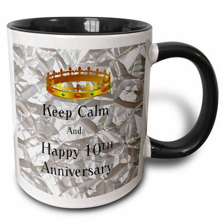 3dRose Keep Calm And Happy 10th Anniversary On Tin Photo - Two Tone Black Mug, 11-ounce