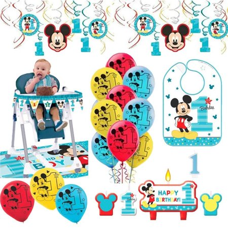 Mickey Mouse First Birthday Fun To Be One 1st Birthday Party Supplies Decoration Pack Includes: Hanging Swirl Decorations, Baby Bib, Birthday Candles, Balloons,