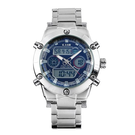Black Dial Mens Led Alarm Quartz Digital Watch Dual Core Silver Stainless Steel (Stainless Steel Dorado Silver Dial)
