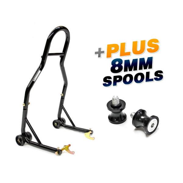 Venom Sport Bike Motorcycle Rear Wheel Swingarm Spool Lift Stand + Low Profile 8mm Black Swingarm Spools (Fits Most Honda / Suzuki Bikes)