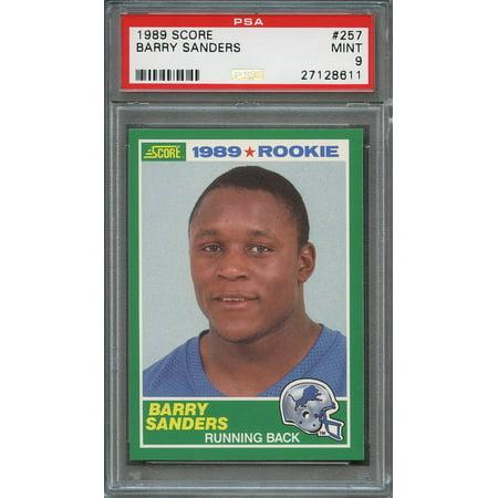 1989 Score 257 Barry Sanders Detroit Lions Rookie Card Psa 9