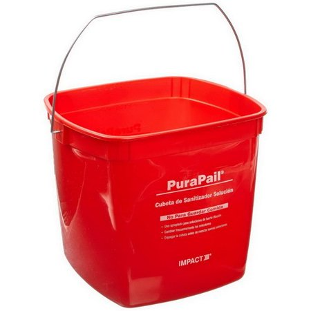 Impact Products PuraPail Square Utility Sanitizing Bucket Red, 6 qt., 7