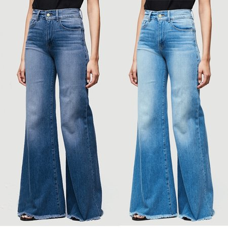 Women High Waist Wide Leg Jeans Flared Bell Bottom Denim