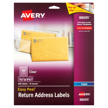 Avery 88695 Clear Return Address Labels  10 Sheets  600 Count