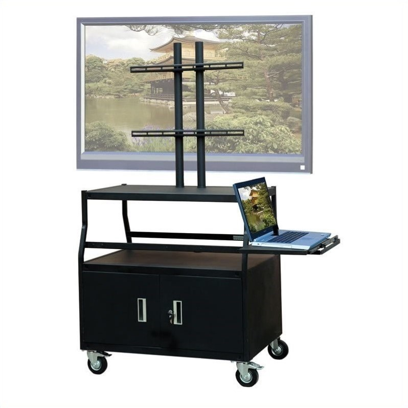 """VTI Wide Body Cabinet Cart for up to 55"""" Flat Panel TV  w/ Pull Out Shelf"""