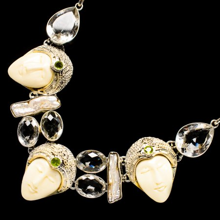 Carved Face, White Quartz, Mother Of Pearl, Peridot Necklace 18