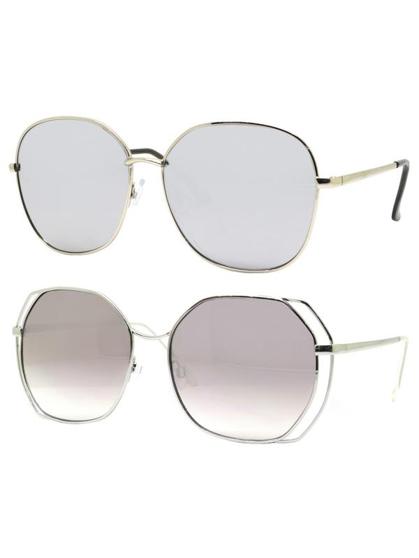 Time and Tru Women's Metal Sunglasses 2-Pack Bundle: Round Sunglasses and Oversized Square Sunglasses