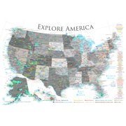 USA National Parks Map Poster - Black & White 24x16 inches