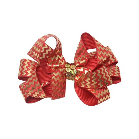 Girls Red Gold Chevron Sequin Knot Alligator Hair Bow Clippie](Golf Hair Bows)