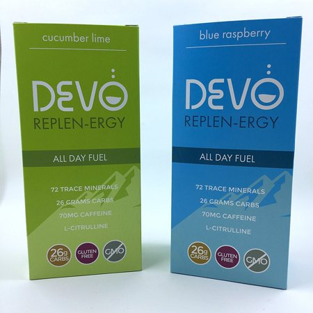 Combo Pack: Devo Replen-ergy : Blue Raspberry & Cucumber Lime - 7 single servings per box packets- energy - gluten free - no GMO - vegan - all - Cucumber Lime