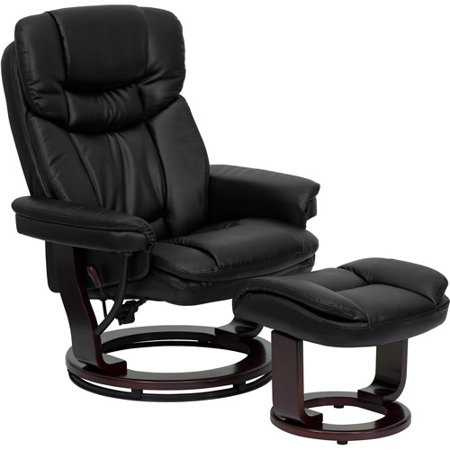 Deluxe Contemporary Leather Recliner and Ottoman with Swiveling Wood Base, Multiple Colors