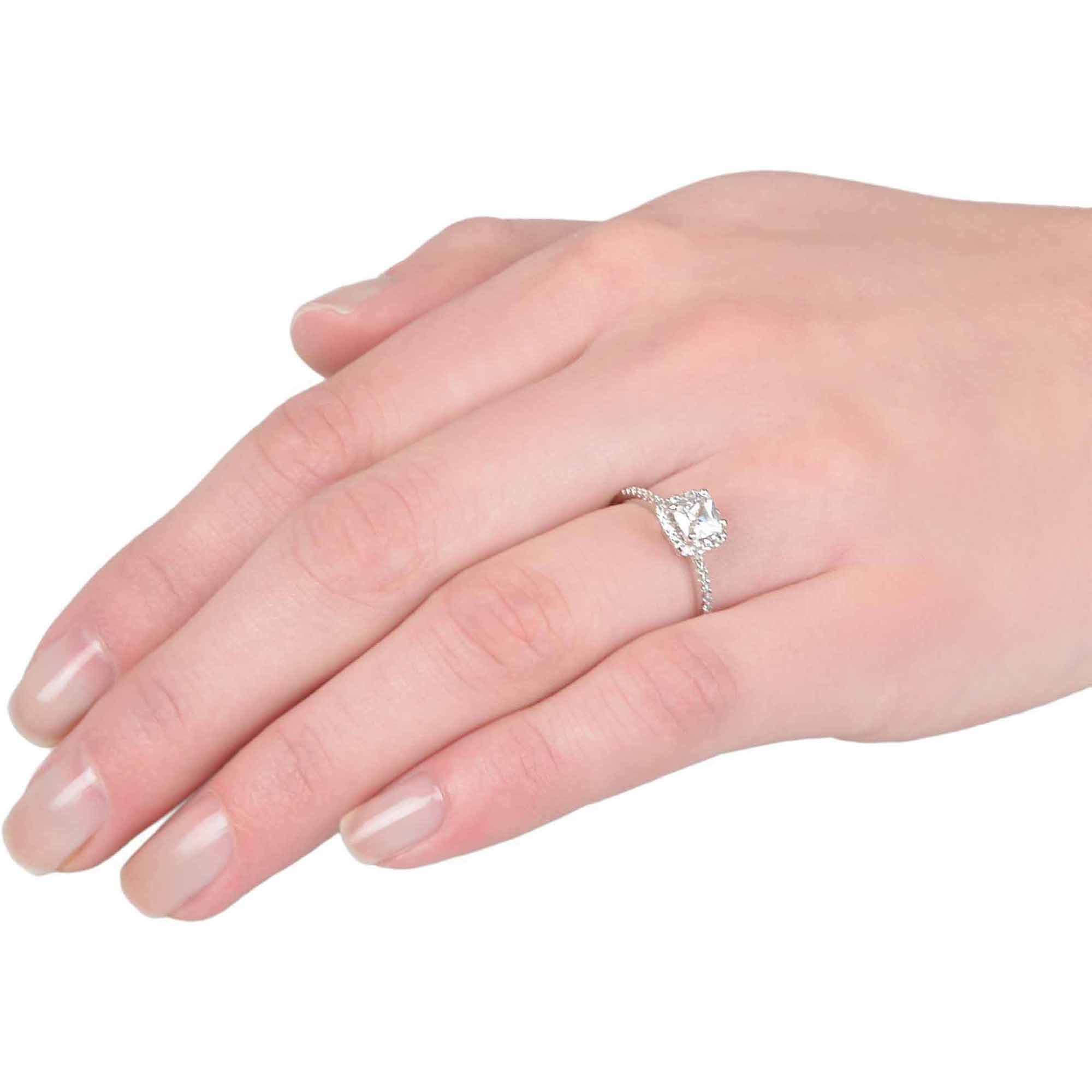 Alexandria Collection 4/5 Carat T.G.W. Square CZ Sterling Silver ...