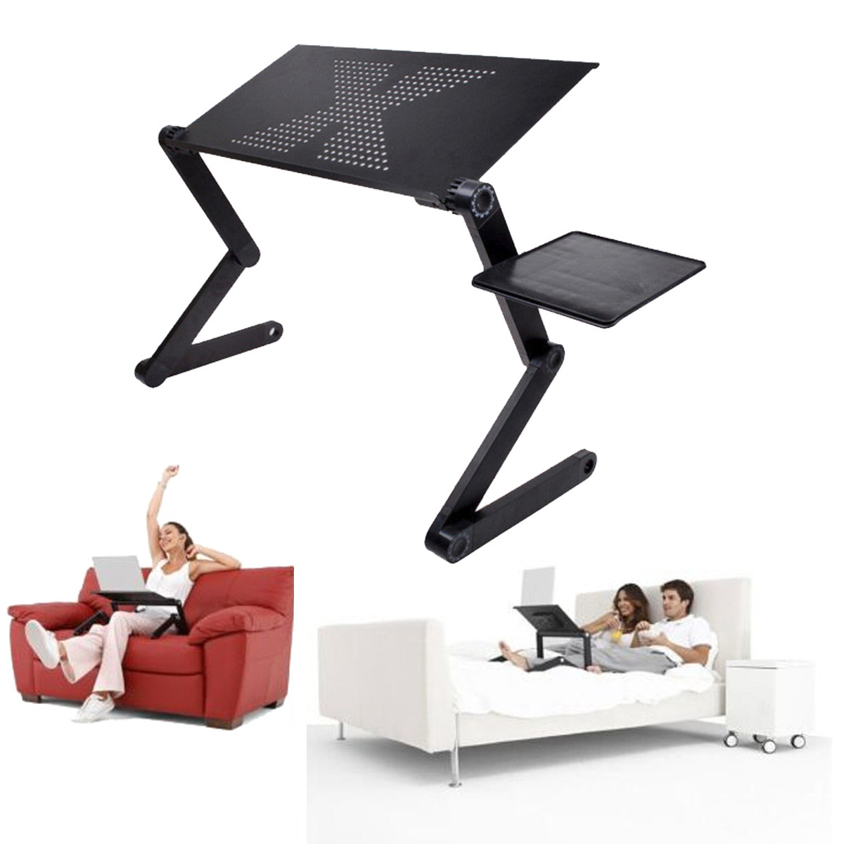 Black Foldable Adjustable Laptop Desk Computer PC Table Stand Heat Radiation