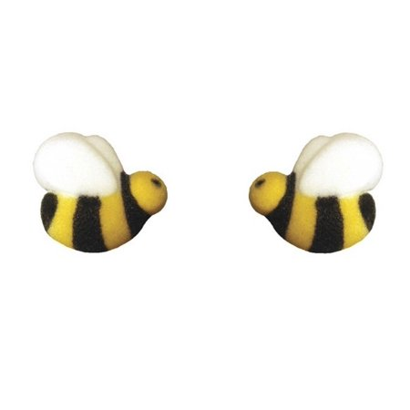 Edible Sugar Flowers - Edible Sugar Bumble Bee Toppers - 24 Count