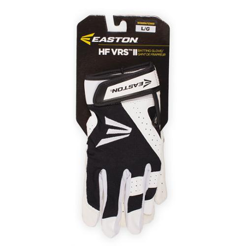Easton A121854PRL HF VRS II Woman's Fastpitch Batting Gloves, White/Black L
