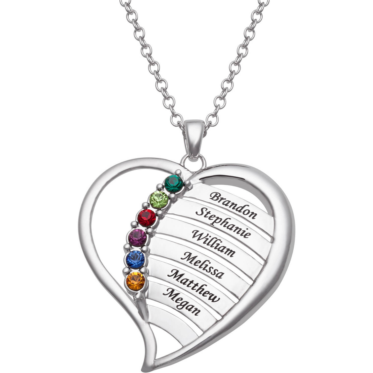 Personalized Family Rhodium-Plated or Gold-Plated Birthstone and Names Heart Necklace, 18""
