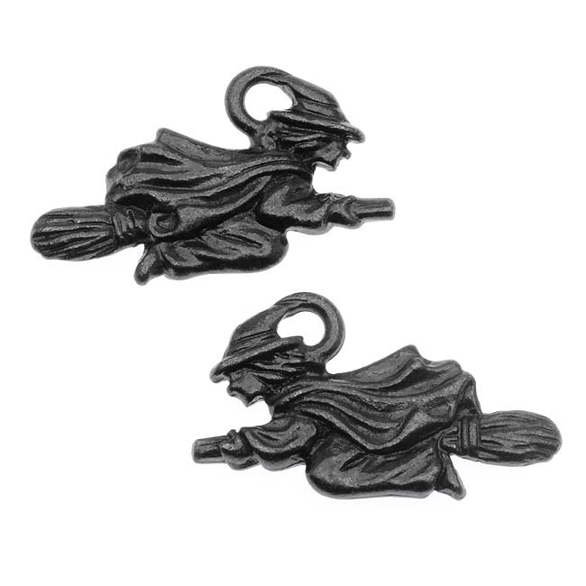 Black Finish Lead-Free Charm - Witch Flying On Broom Halloween 19mm (2)