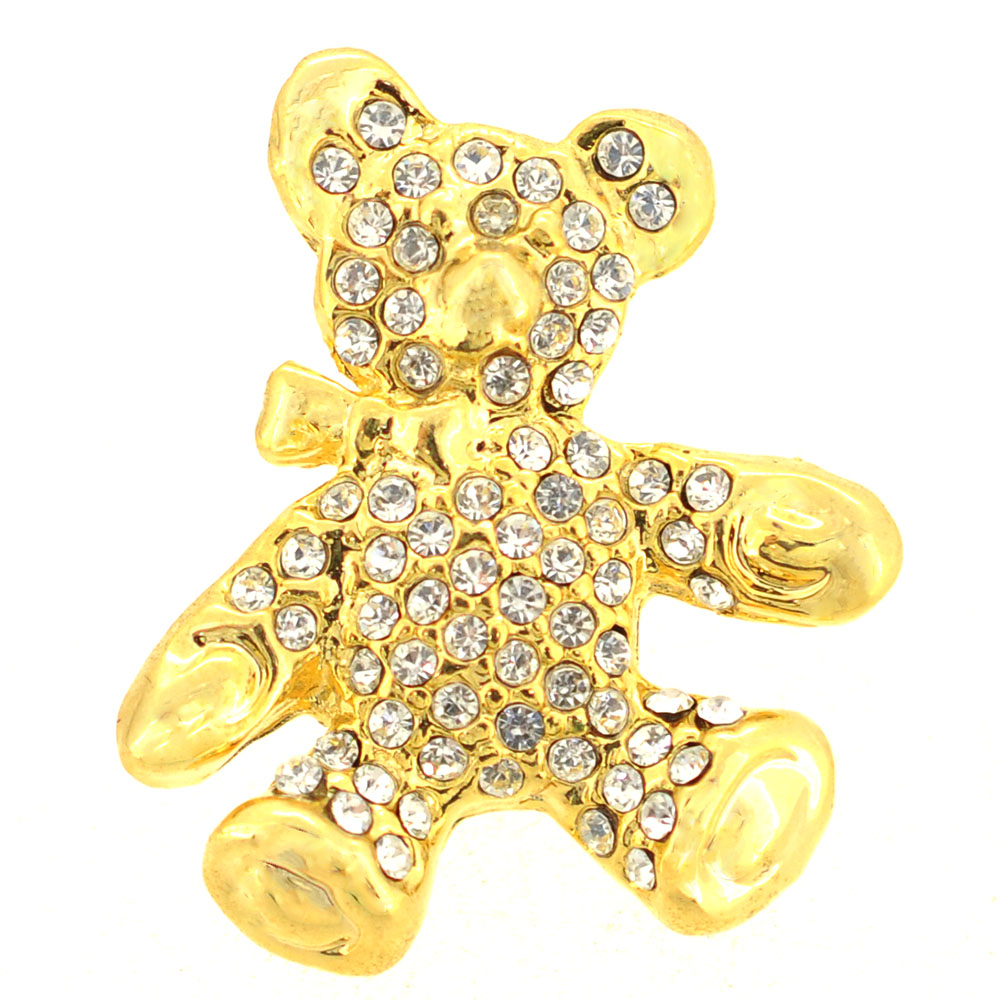 Crystal Teddy Bear Brooch by