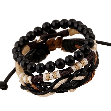 - Girl12Queen Men's 3 Pcs Punk Style Wood Beads Knitted Leather Bangle Wax Rope Cuff Bracelets