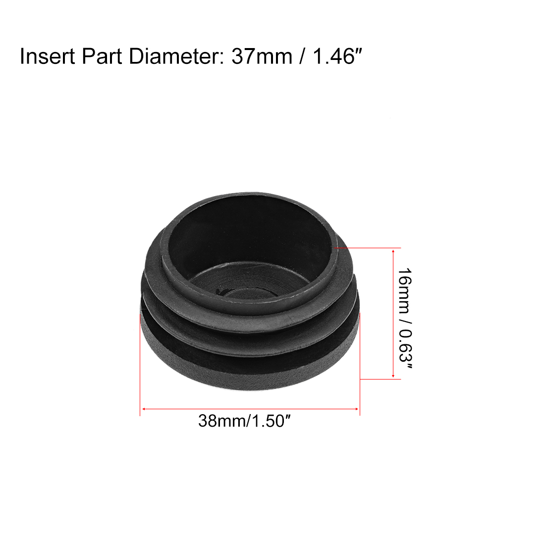Plastic Plug End Caps 38mm x 37mm Round Furniture Table Chair Legs 25Pcs - image 1 of 5
