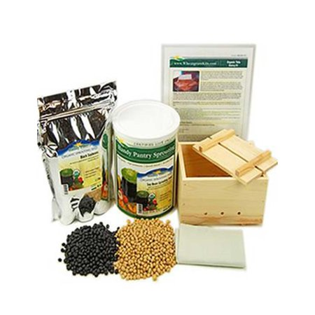 Organic Deluxe Tofu Making Kit - Large Wood Mold / Press, Yellow & Black Soybeans, More - Make Your Own