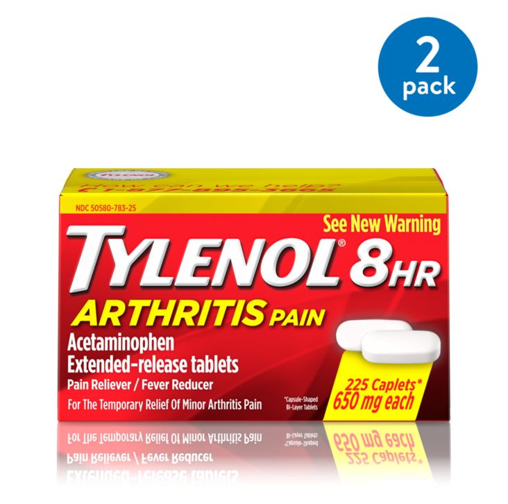 (2 Pack) Tylenol 8 HR Arthritis Pain Extended Release Caplets, Pain Reliever, 650 mg, 225 ct.