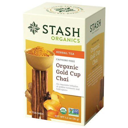 (2 Pack) Stash Tea Organic Gold Cup Chai with Tumeric Herbal Tea, 18 Ct, 1.2 Oz
