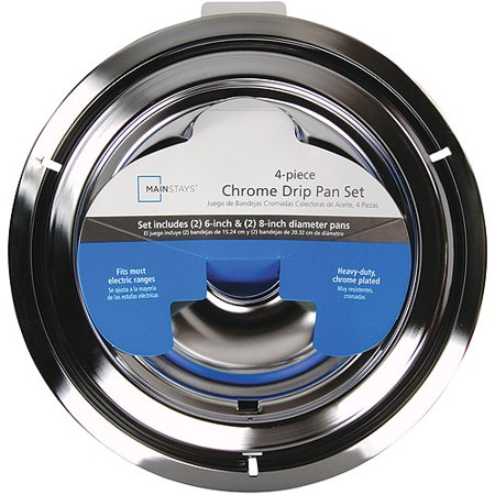 Mainstays 4 Piece Drip Pan Set Chrome Walmart Com