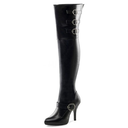 Thigh High Pirate Boots (Black WIDE WIDTH WIDE SHAFT Thigh High Pirate Boots with 5 Inch)