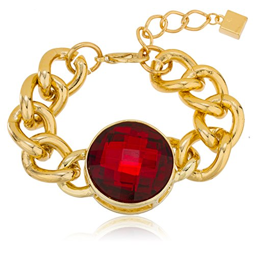 Goldtone with Red 'Crystal Clear' Adjustable 7 Inch Miami Cuban Chain Bracelet