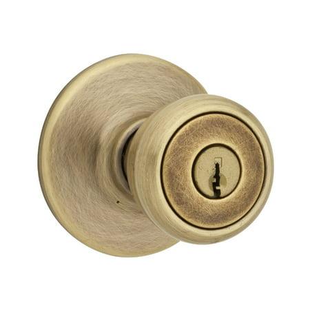 Brass Entry Lockset Key - Kwikset® 400T-5-SMT-6AL-RCS Tylo Entry Lockset with Smart Key, Antique Brass