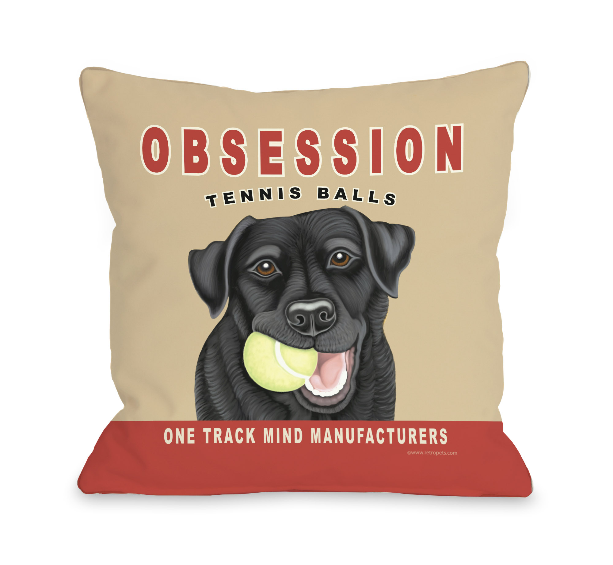 Obsession Tennis Ball 16x16 Pillow by Retro Pets