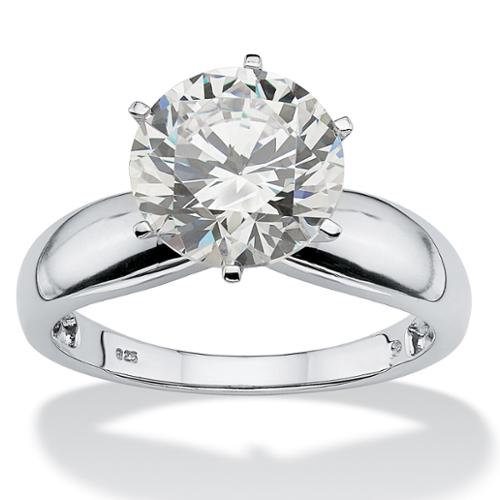 3.50-Carat Round Cubic Zirconia Platinum over Sterling Silver Solitaire Bridal Engagement Ring - Size 6